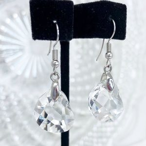Prom Pageant Bridal Jewelry - Crystal Chunk Drop Earrings
